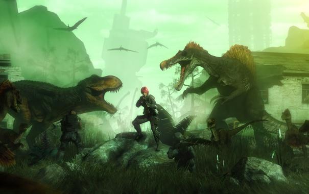 Фото обои город, солдаты, fan art, dinosaurs, t-rex, Dino Crisis