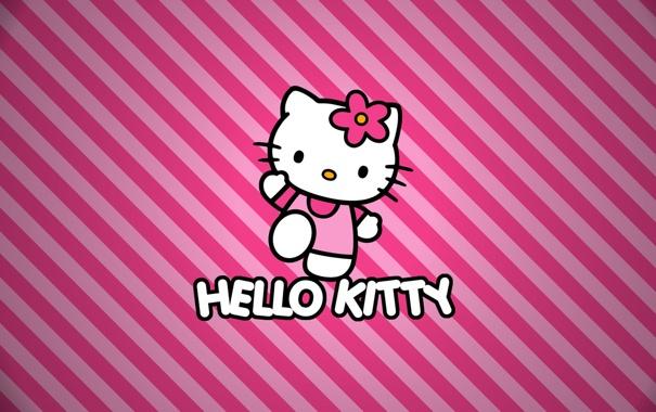 Фото обои котенок, Hello Kitty, китти, розовый цвет