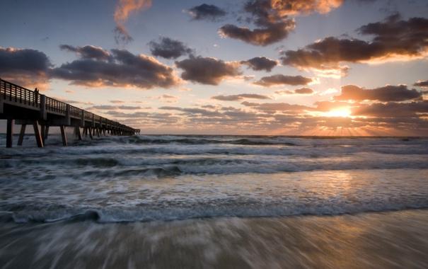 Фото обои море, волны, пляж, небо, вода, солнце, облака