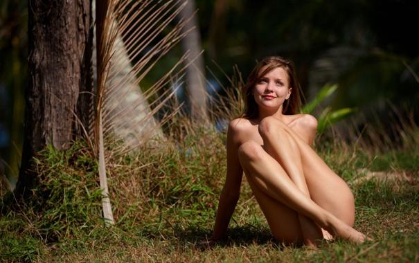 Фото обои трава, взгляд, девушка, деревья, природа, улыбка, шатенка
