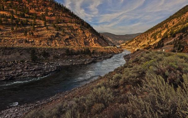 Фото обои горы, река, долина, Thompson