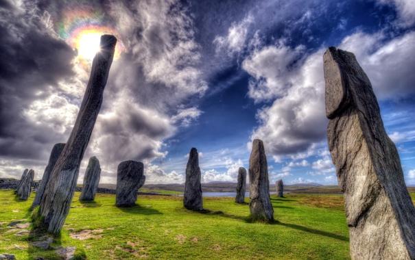 Фото обои камни, небо, пейзаж, HDR