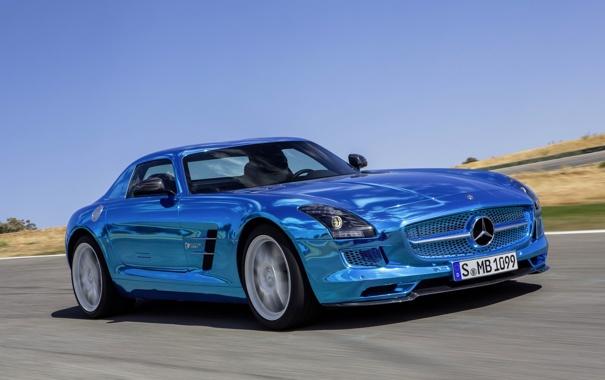 Фото обои Mercedes-Benz, Синий, Лого, Капот, AMG, SLS, Хром