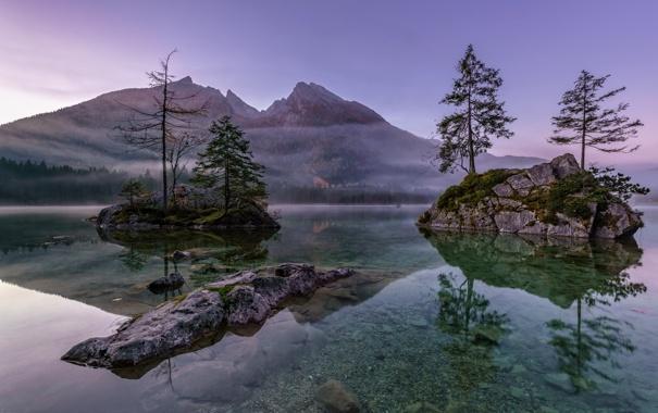 Фото обои деревья, пейзаж, горы, туман, озеро, камни, скалы
