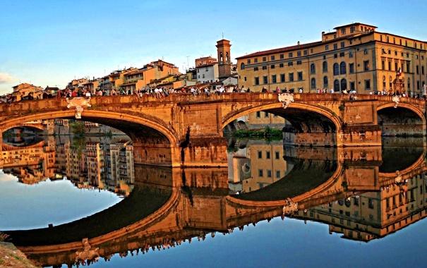 Фото обои отражение, дома, Италия, арка, Флоренция, река Арно, мост Санта-Тринита