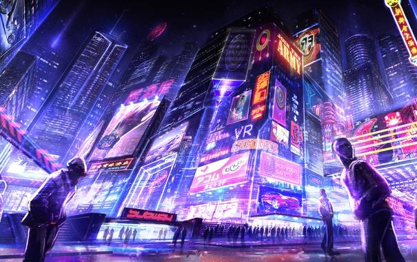 Фото обои город, улица, небоскребы, неон, вечер, арт, вывеска