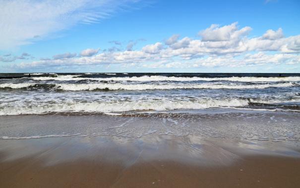 Фото обои песок, море, волны, пляж, лето, небо, пена