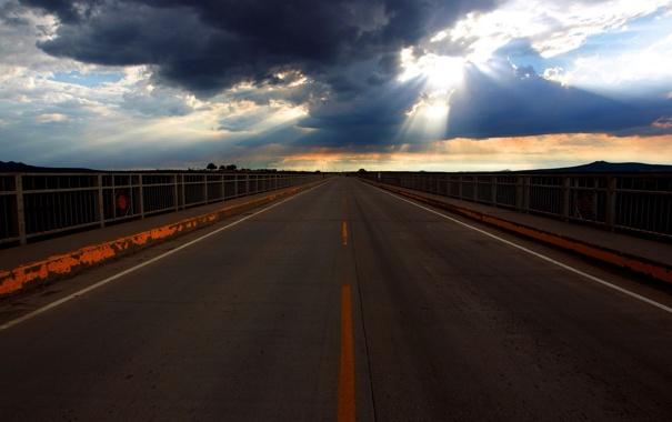 Фото обои пейзаж, небо, дорога
