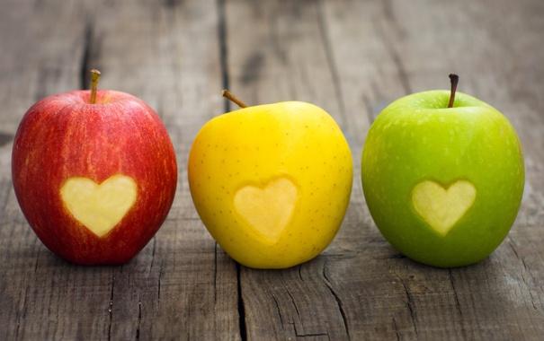 Фото обои яблоки, цвет, светофор, фрукты, сердечко