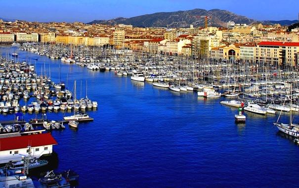 Фото обои Франция, дома, яхты, лодки, порт, гавань, Марсель