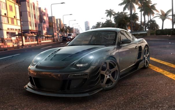Фото обои город, полосы, пальмы, гонка, трасса, Porsche 911, The Crew