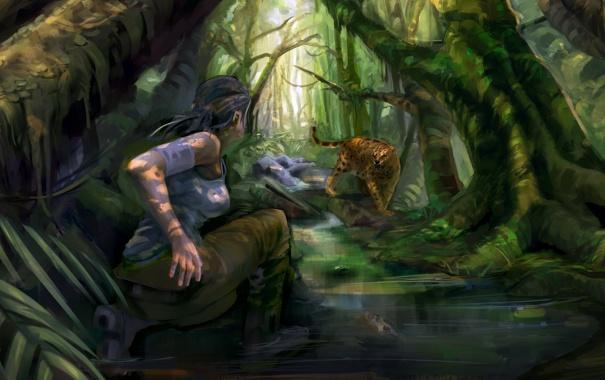 Фото обои вода, девушка, деревья, игра, хищник, лук, арт