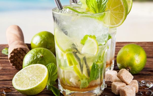 Фото обои ice, drink, mojito, cocktail, lime, мохито, mint