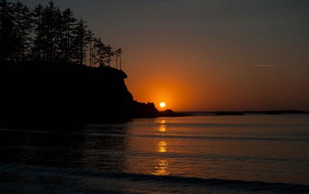 Фото обои море, небо, деревья, закат, скала, озеро, горизонт