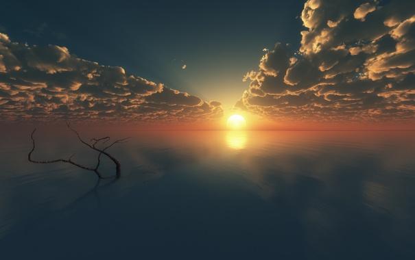 Фото обои облака, закат, океан