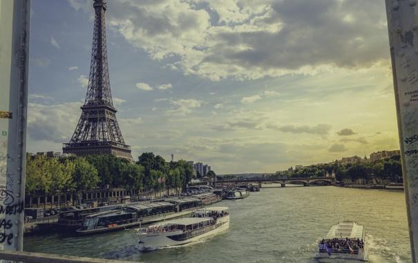 Фото обои река, эйфелева башня, париж, франция, paris