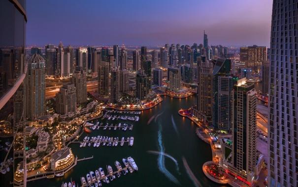 Фото обои ночь, город, отражение, небоскреб, бухта, яхты, Дубаи