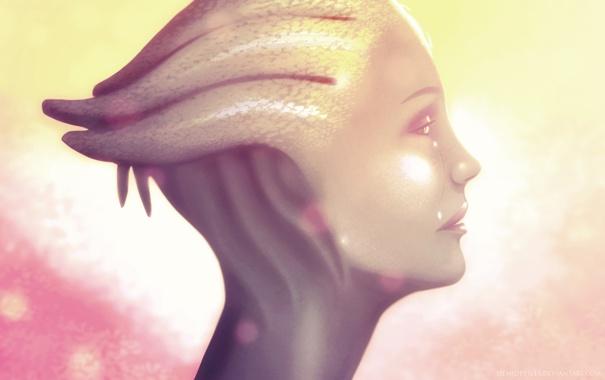 Фото обои яркий свет, профиль, Mass Effect, Liara
