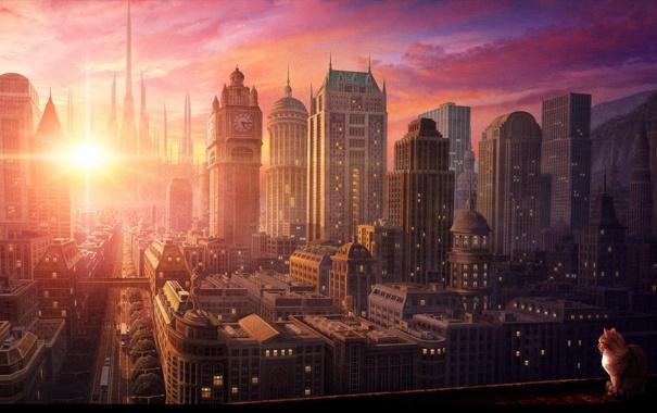 Фото обои небо, кот, солнце, движение, спокойствие, небоскребы, Город