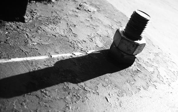 Фото обои line, iron, shadow, ground, screw, white and black