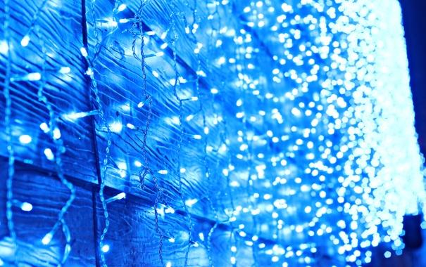 Фото обои Blue, Lights, Night, Bokeh, Mood, Street Lights