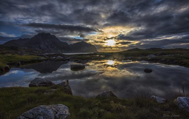 Фото обои вода, отражение, Закат