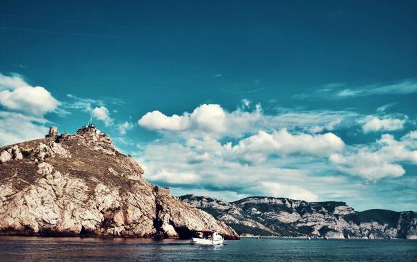 Фото обои море, облака, Горы, яхта