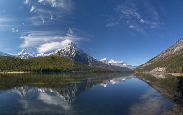Фото обои лес, небо, природа, горы, вода, озеро, тучи