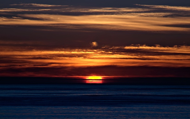 Фото обои небо, закат, оранжевый, тучи, океан, темно, Вечер