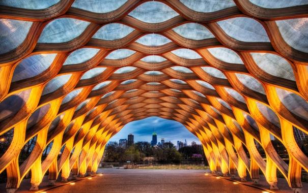 Фото обои вечер, чикаго, chicago, миллениум парк