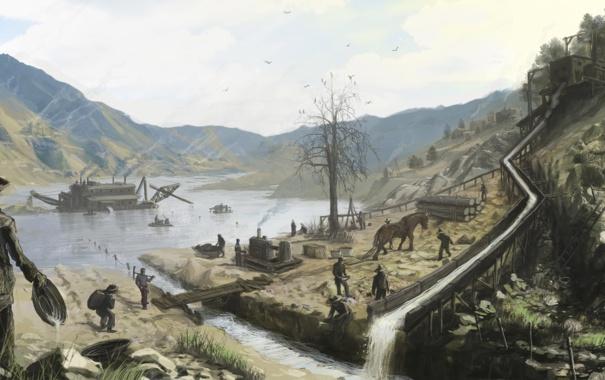 Фото обои озеро, люди, арт, ковбои, строители