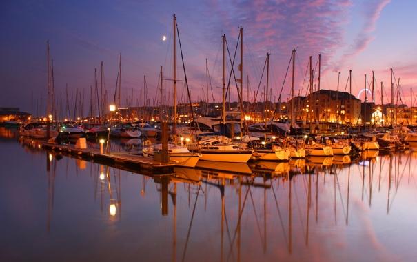 Фото обои закат, город, яхты, катера, Plymouth, England, яхт-клуб