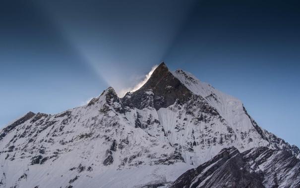 Фото обои зима, снег, гора, вершина, пик