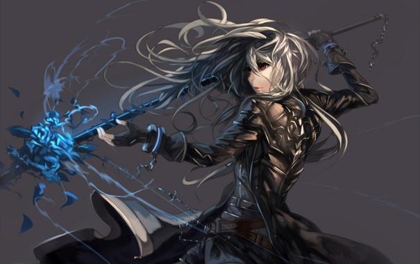 Фото обои девушка, оружие, магия, аниме, арт, цепи, kuroduki