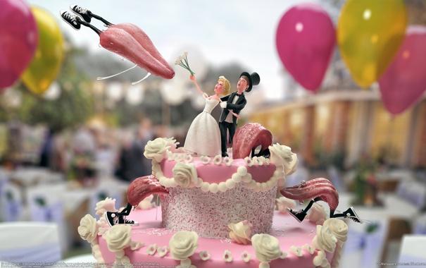 Фото обои воздушные шары, атака, торт, языки, невеста, крем, кроссовки