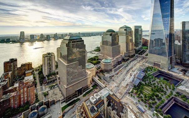 Фото обои здания, Нью-Йорк, панорама, Манхэттен, Manhattan, New York City, Hudson River