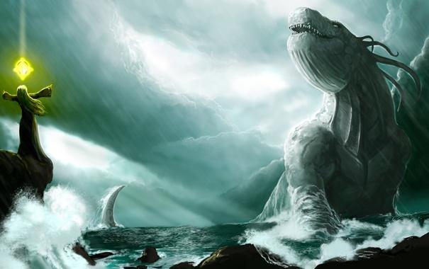 Фото обои storm, monster, sea, summon