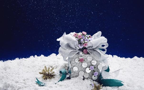 Фото обои белый, снег, цветы, снежинки, синий, цвет, розы
