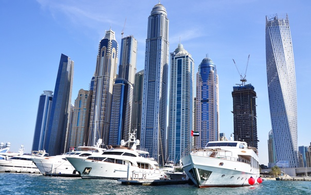 Фото обои яхты, небоскребы, порт, Dubai, дубай, harbor, Skyscrapers