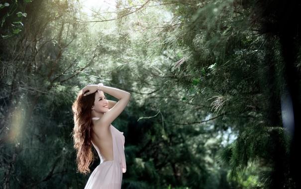 Фото обои лес, лето, девушка, улыбка, настроение, азиатка