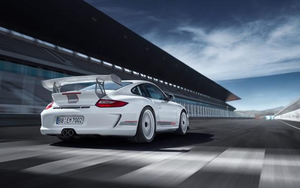 Фото обои дорога, белый, Авто, 911, Porsche, GT3RS