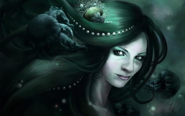 Фото обои девушка, ракушка, арт, медузы, жемчуг, под водой