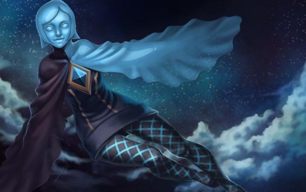 Фото обои небо, девушка, звезды, облака, ночь, фантастика, крылья