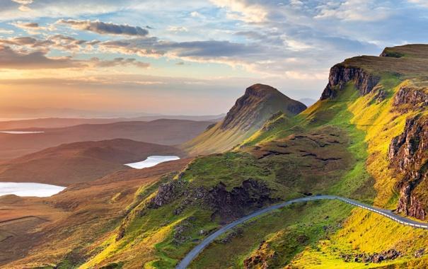 Фото обои облака, панорама, дорога, горы, небо, озеро, Великобритания