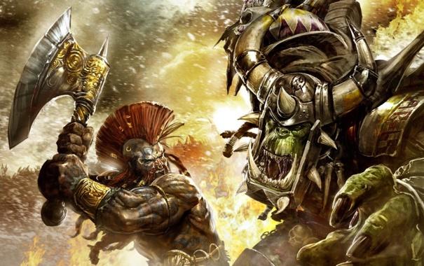 Фото обои огонь, пасть, клыки, рога, топор, сражение, warhammer