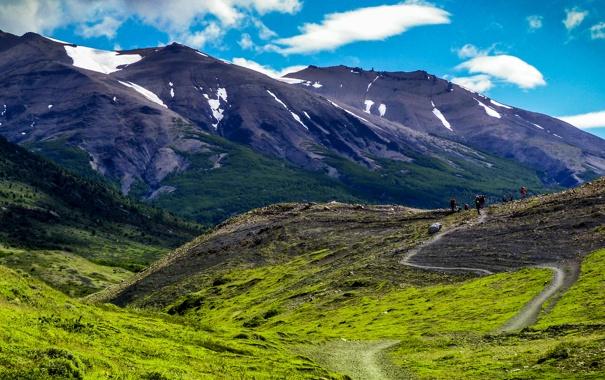 Фото обои горы, тропа, ущелье, Чили, туристы, Patagonia