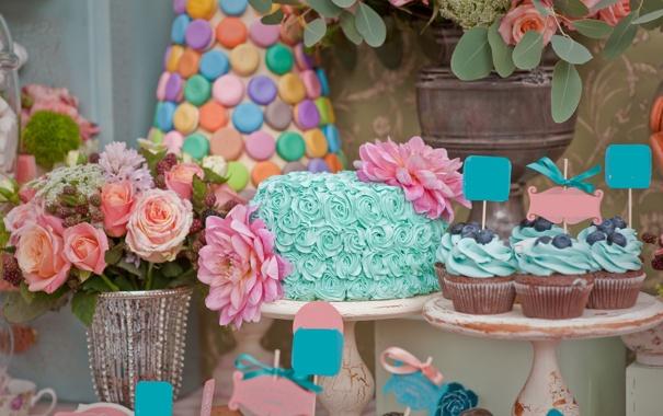 Фото обои цветы, черника, торт, кексы