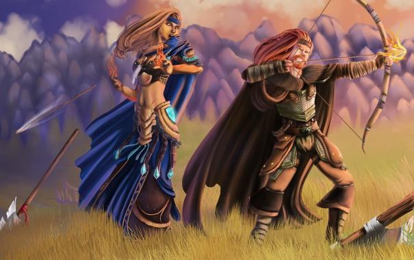 Фото обои поле, трава, девушка, горы, оружие, огонь, лук