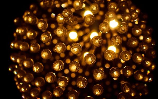 Фото обои свет, огни, желтые, освещение, люстра, боке