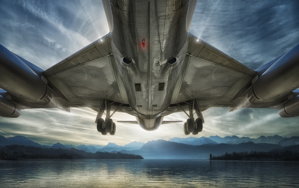 Фото обои небо, вода, горы, самолёт, шасси